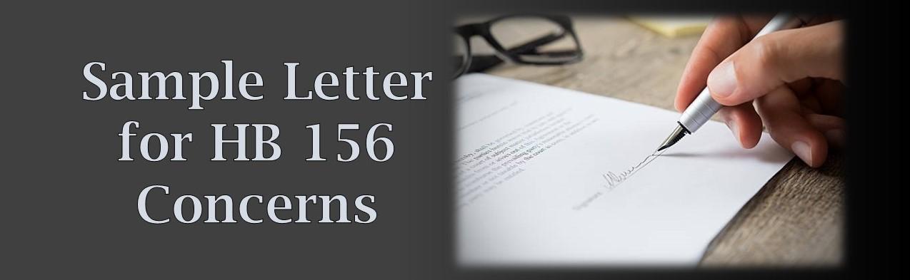 Link to Sample Letter for HB 156 Concerns